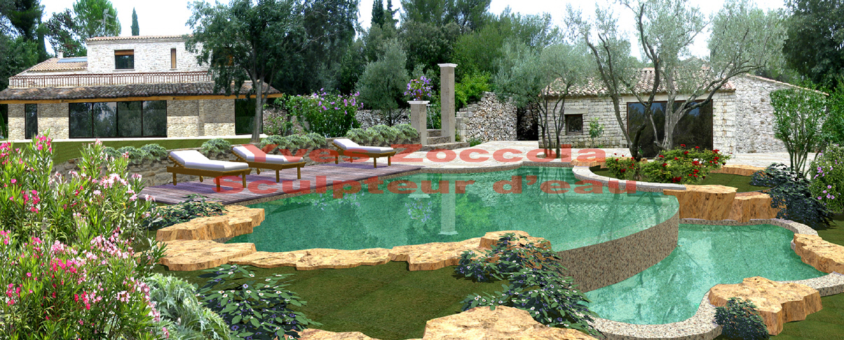 Yves zoccola concepteur de piscine - Bassin de jardin en pierre ...
